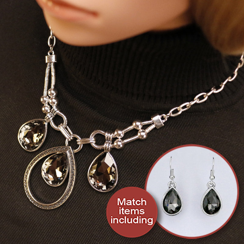 Brightly vintage statement necklaces black water drop rhinestones pend brightly vintage statement necklaces black water drop rhinestones pendants necklaces link chain for women elegant style aloadofball Choice Image