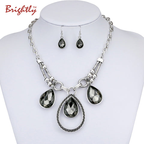 Brightly Vintage Statement Necklaces Black Water Drop Rhinestones Pendants Necklaces Link Chain for Women Elegant Style