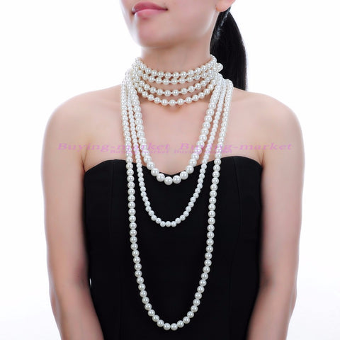 Charm Women Statement Bib Pendant Chain Choker Necklace Pearl Jewelry
