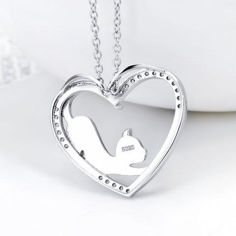 Cute Gold Cat Love Heart Patterned 925 Sterling Silver Crystal Statement Necklaces Collier For Women Girls Birthday Gift