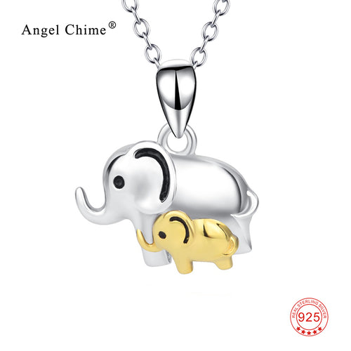 Cute Mom And Child Lucky Elephant Pendant Pure 925 Sterling Silver Mother Loves Charm Statement Necklaces For Mother's Day Gift