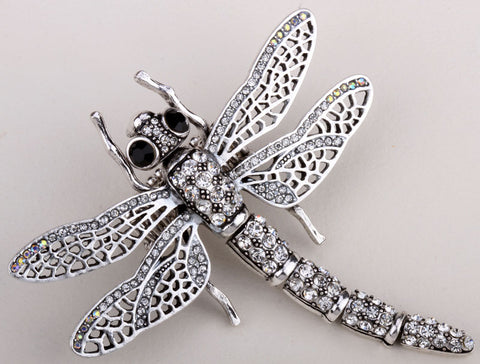 Dragonfly big shaky brooch pendant for women summer style crystal jewelry BA33 wholesale dropship