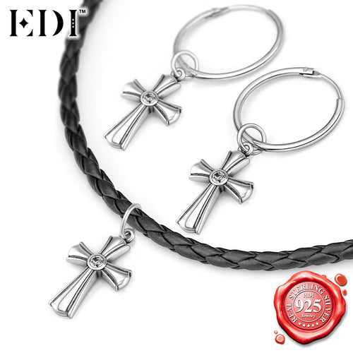 EDI 925 Sterling Silver Fine Jewelry for Women Vintage Silver Cross Choker Necklace/ Hoop Earring Jewelry Set Natural Topaz Gems