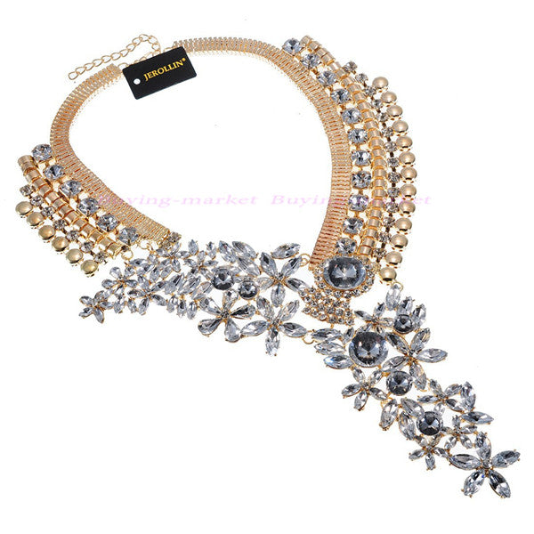 Fashion Gold Chain Acrylic Resin Crystal Choker Statement Pendant Bib Necklace