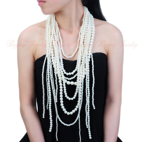Fashion Gold Chain Resin Pearl Cluster Choker Statement Pendant Bib Necklace New