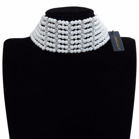 Fashion Jewelry Chain White Crystal Pearl Choker Statement Bib Necklace