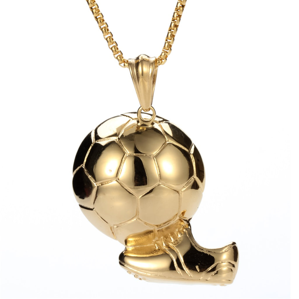 Football stainless steel necklace men women 316L pendant W chain gold silver color heavy jewelry wholesale dropshipping GN105