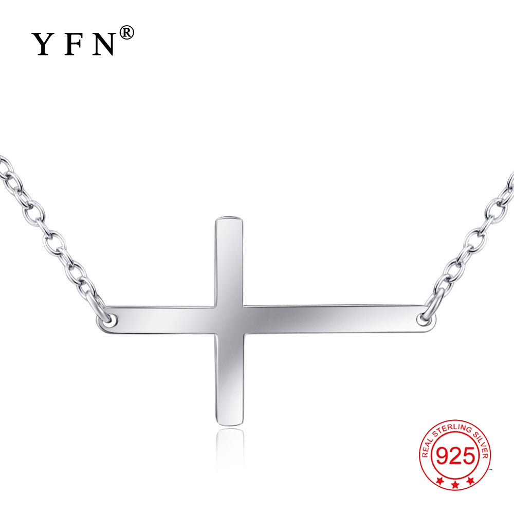 GNX0495 Genuine 925 Sterling Silver Sideways Cross Pendants Necklaces Fashion Jewelry Simple Necklace For Women Collier