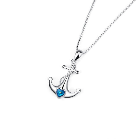 GNX14113 YFN Genuine 925 Sterling Silver Necklace Blue Heart Crystal Anchor Women Pendants Necklaces Fashion Jewelry Best Gifts