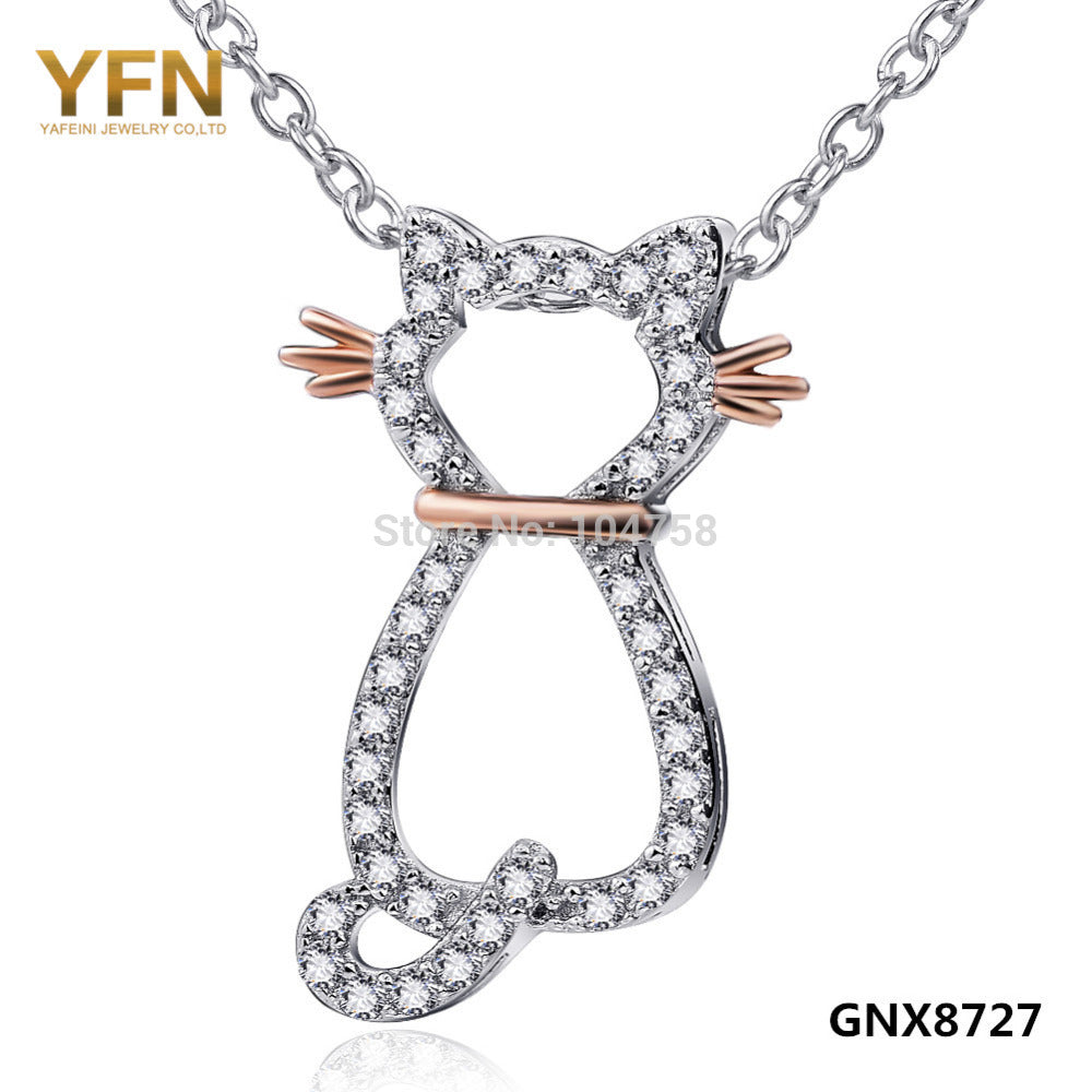 GNX8727 Genuine 925 Sterling Silver Cute Cat Charm Necklace Fashion Jewelry Cubic Zirconia Pendants Necklaces Gifts For Women
