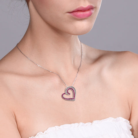 GemStoneKing Beautiful Heart Shape Created Ruby & Accent Diamond Pendant Necklace 925 Sterling Silver Jewelry For Women