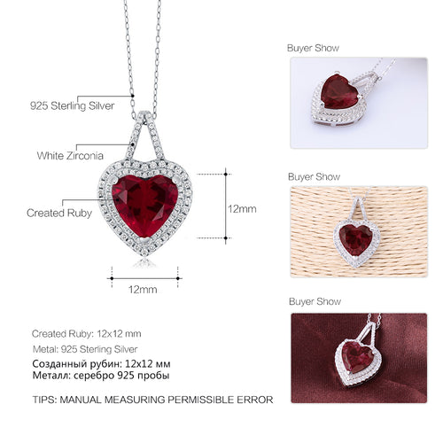 GemStoneKing Solid 925 Sterling Silver Fine Jewelry 12mm Created Heart Ruby Pendant Necklace For Women