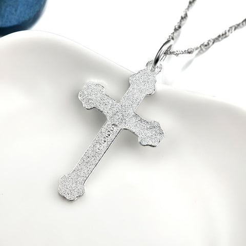 Genuine 925 Sterling Silver Cross Necklace Fashion Jewelry Necklaces & Pendants For Women or Men Collier GND0149X
