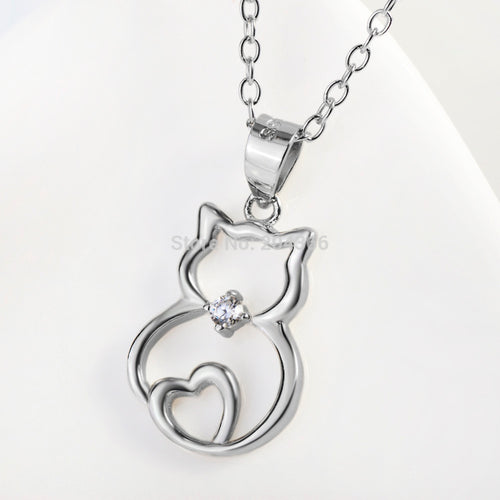 Genuine 925 Sterling Silver Crystal Cat Pendants Necklaces With A Heart Fashion Jewelry For Women Collares Mujer GNX8723