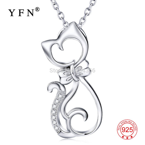 Genuine 925 Sterling Silver Cute Cat Necklace Fashion Jewelry Cubic Zirconia Necklaces & Pendants For Women Collier GNX0451