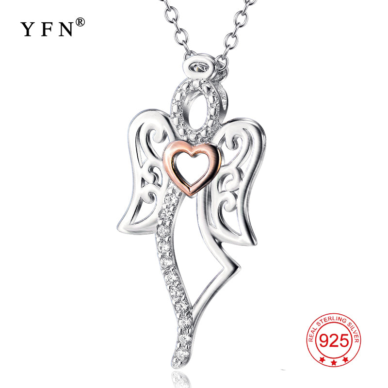 Genuine 925 sterling silver love angel pendants necklaces cubic zircon genuine 925 sterling silver love angel pendants necklaces cubic zirconia fashion jewelry necklace valentines gifts for aloadofball Gallery