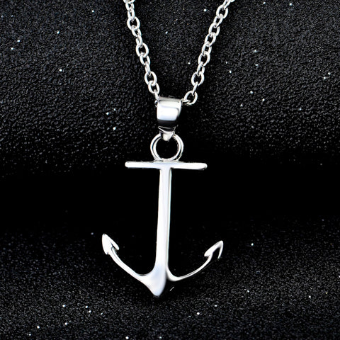 Genuine 925 Sterling Silver Polish Anchor Pendants Necklaces Women Jewelry Simple Necklace Collares Mujer GND0848X
