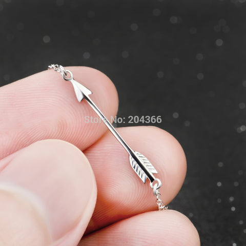 Genuine 925 Sterling Silver Sideways Love Arrow Pendants Necklaces Women Jewelry Simple Necklace Collares Mujer GNX0588