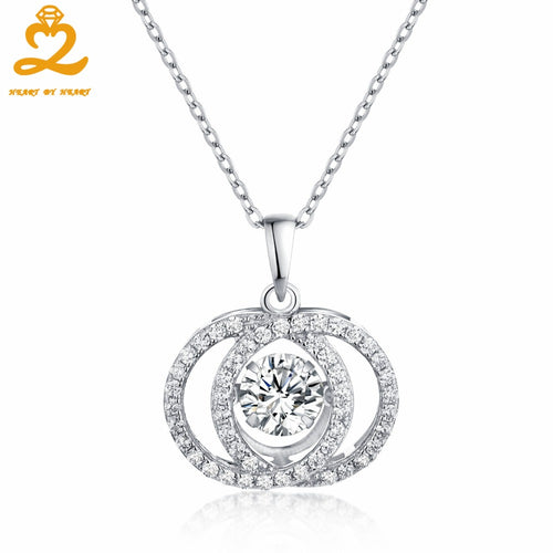Heart By Heart 925 Sterling Silver Pendant Necklace for Women with Topaz Luxury Choker Female Fine Jewelry Accessories Gift