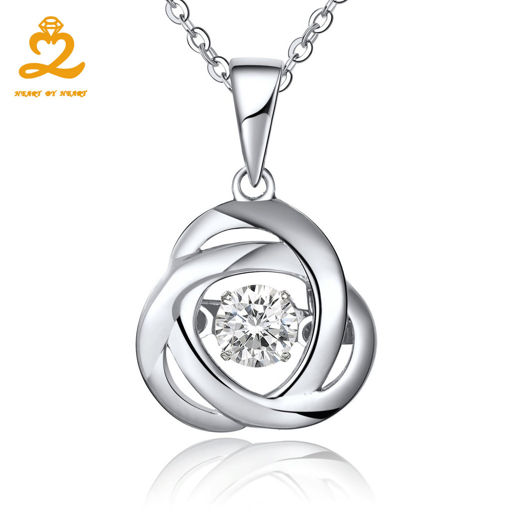 Heart By Heart Pendant Necklace Certificated 925 Sterling Silver Dancing Topaz Pendant for Women Female Accessories Fine Jewelry