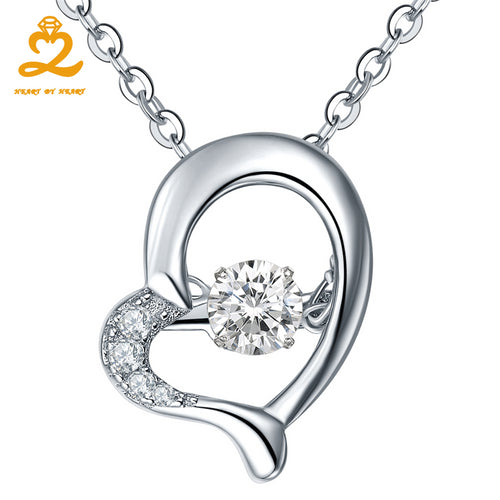Heart By Heart Pendant Necklace Sterling-Silver-Jewelry 925 Heart Dancing Gemstone Necklace Silver Chain for Women Fine Pendant