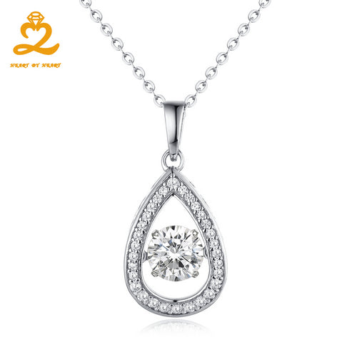 Heart By Heart Womens Necklace Dancing Topaz Gemstone 925 Sterling Silver Long Necklace Jewelry Crystal Water Drop Pendant