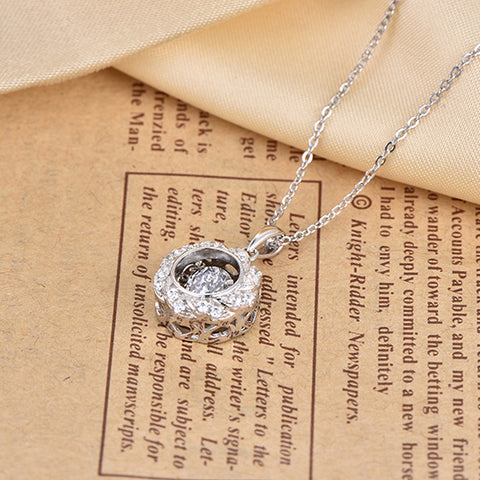 Heart by Heart Flower Pendant Necklace Silver for Women Girls Dancing Topaz Gemstone Gift 925 Silver Jewelry Chain Fine Necklace