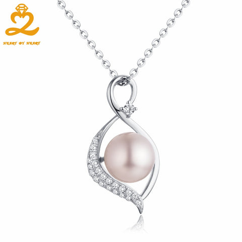 HeartByHeart Necklace 9mm Big Pearl Pendant Long Necklace Chain Silver Women Freshwater Mothers Day Gift for Mom Fine Jewelry