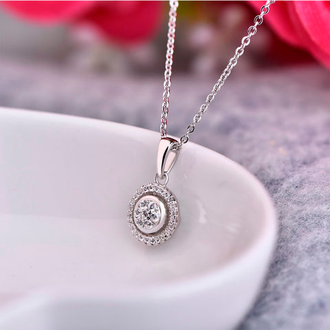 HeartByHeart Round 925 Sterling Silver Pendant Necklaces Fashion Fine Jewelry for Women Engagement Anniversary