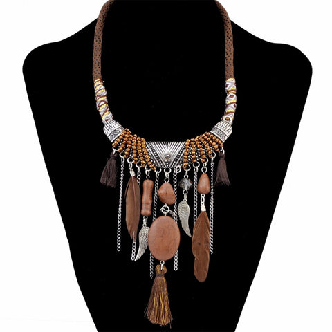 Idealway Handmade Ethnic Blue Brown Feather Pendant Leather Chain Necklaces for Women Bohemian Party Anniversary Tribal Jewelry