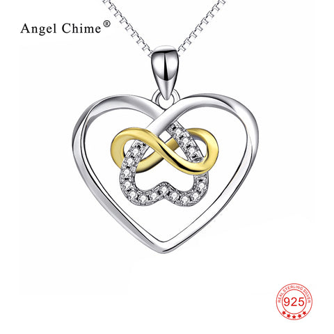 Infinity Love Heart Crystal Charm 925 Sterling Silver Pendant Statement Pendants Necklaces Collier Fashion Jewelry For Women