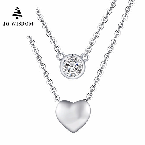 JO WISDOM Fine Jewelry Silver Double Chain Double Different Shape Heart/Round Pendants Accessories Costume Jewelry Summer Style