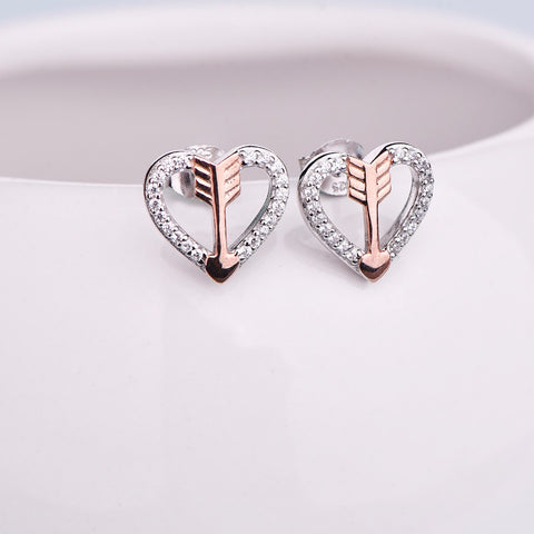 JO WISDOM Fine Jewelry Silver Earring Costume Jewelry Heart Earrings Wedding Decorations Rose Plated