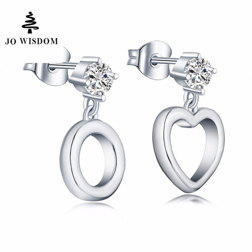 JO WISDOM Fine Jewelry Silver Heart/Round Stud Earrings Ladies jewelery Accessories Earring Costume Jewelry Earrings Best Gift