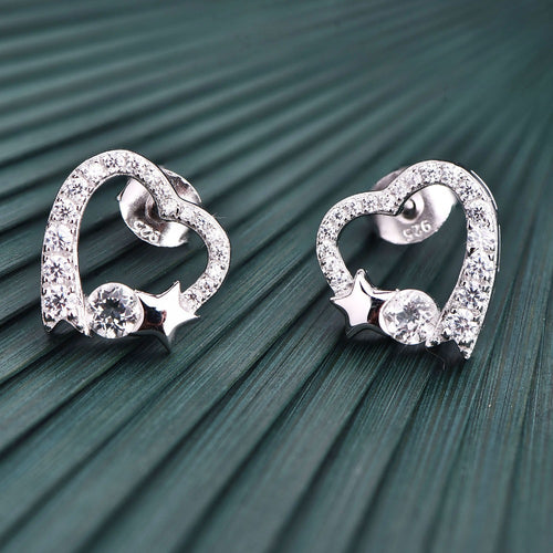 JO WISDOM Fine Jewelry Silver Heart Stud Earrings Ladies jewelery Accessories Earring with CZ Costume Jewelry Earrings