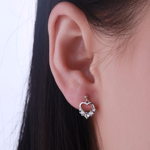 JO WISDOM Fine Jewelry Silver Heart Stud Earrings Ladies jewelery Accessories Earring with CZ Costume Jewelry Earrings Best Gift