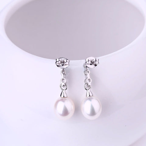 JO WISDOM Fine Jewelry Silver Long Earrings Ladies jewelery Accessories Drop Earring with Pearls Costume Jewelry Earrings