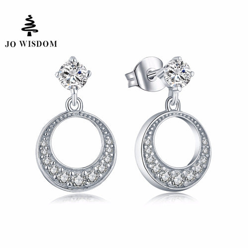 JO WISDOM Fine Jewelry Silver Round Long Earrings Ladies jewelery Accessories Drop Earring with CZ Costume Jewelry Earrings