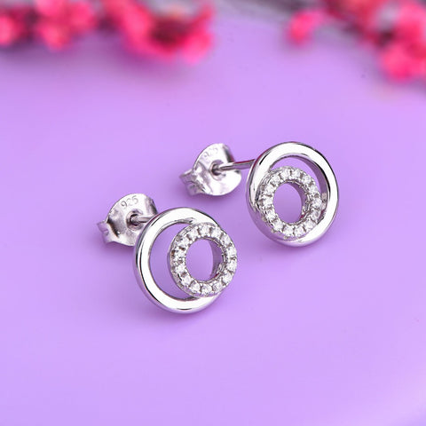 JO WISDOM Silver 925 Jewelry Simpleness Dubbel Round Sharped Sliver Color Stud Earrings Jewelry Made with CZ Wholesale/Dropship