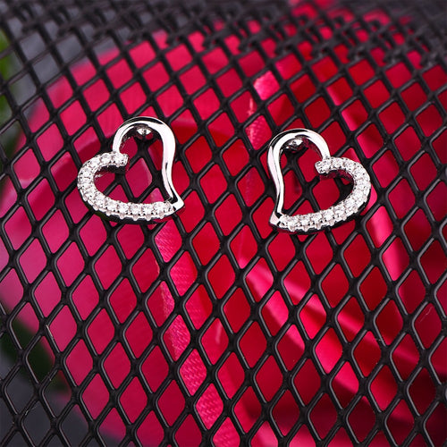 JO WISDOM Silver 925 Jewelry Simpleness Heart Sharped Sliver Color Stud Earrings Jewelry Made with Genuine CZ Wholesale/Dropship