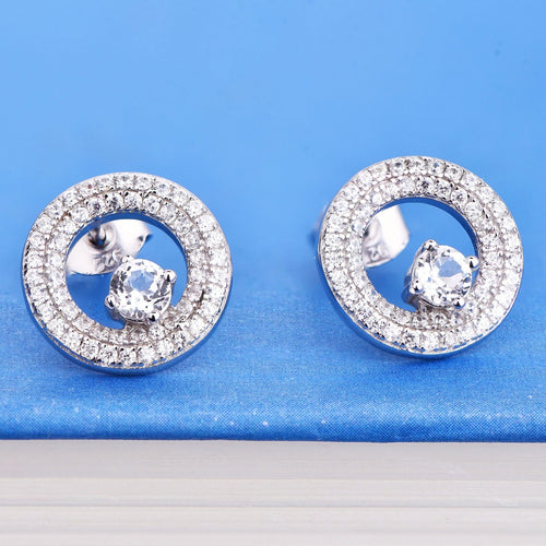 JO WISDOM Silver Earring Round Earrings Fine Ladies jewelery Accessories Earring with CZ Costume Jewelry Earrings Best Gift