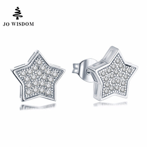 JO WISDOM Silver Earring Star Stud Earrings  with CZ Fine Ladies jewelery Accessories Earring Costume Jewelry Earrings Best Gift