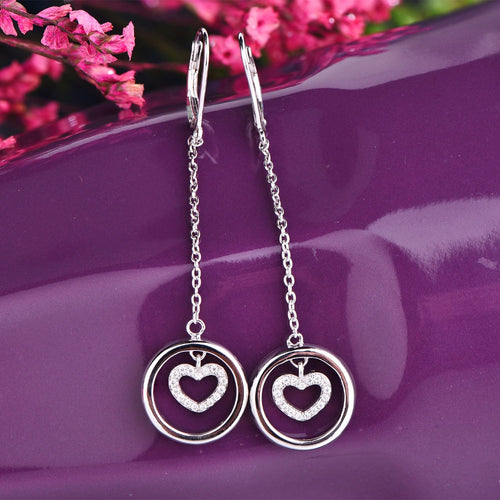 JO WISDOM Trendy New Design CZ Long Earrings For Women 2017 Round Circle with Heart Fashion Jewelry Wholesale Cute Gift