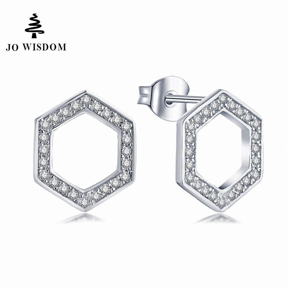 JO WISDOM Wholesale/Dropship Simple Earring Ladies Fine Jewelry Simple CZ irregular Stud Earrings