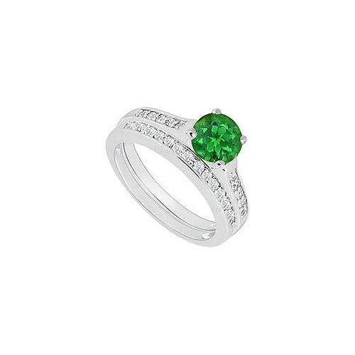 14K White Gold : Emerald and Diamond Engagement Ring with Wedding Band Set 0.75 CT TGW