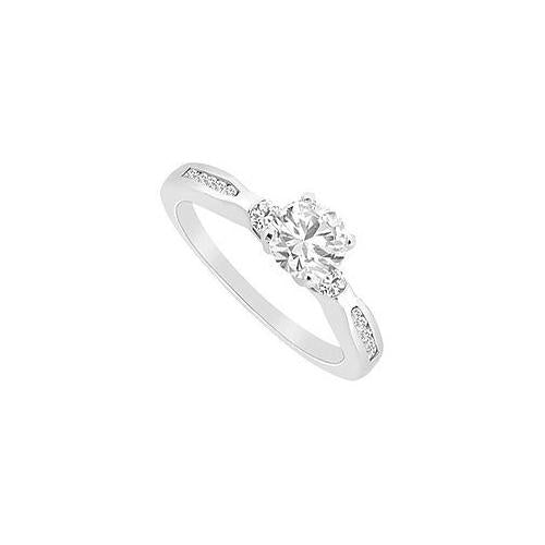 Diamond Engagement Rings : 14K White Gold - 0.75 CT Diamonds