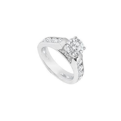 Diamond Engagement Ring 14K White Gold  1.10 CT TDW