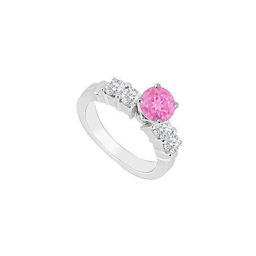 14K White Gold : Pink Sapphire and Diamond Engagement Ring 0.90 CT TGW