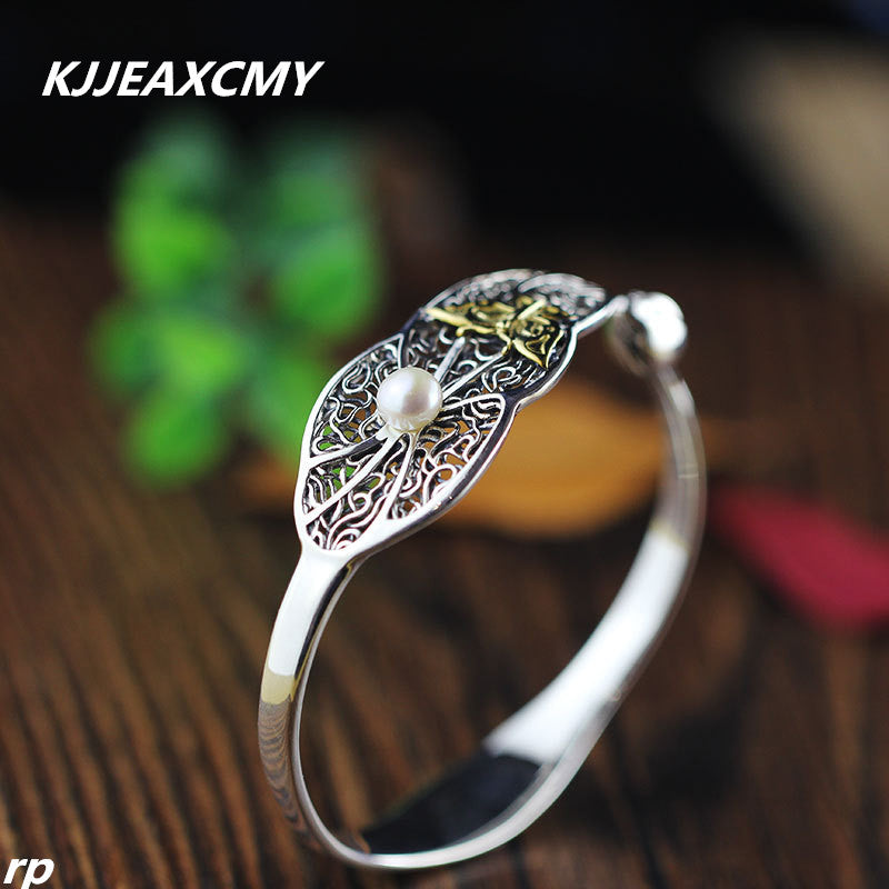 KJJEAXCMY Boutique jewelry, S925 women's national style, new lotus leaf, lotus flower, butterfly opening, women's Pearl Bracelet