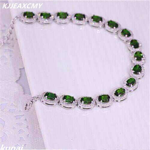 KJJEAXCMY Fine jewelry Colorful jewelry, natural diopside bracelet, 925 silver wholesale products, sales of female models